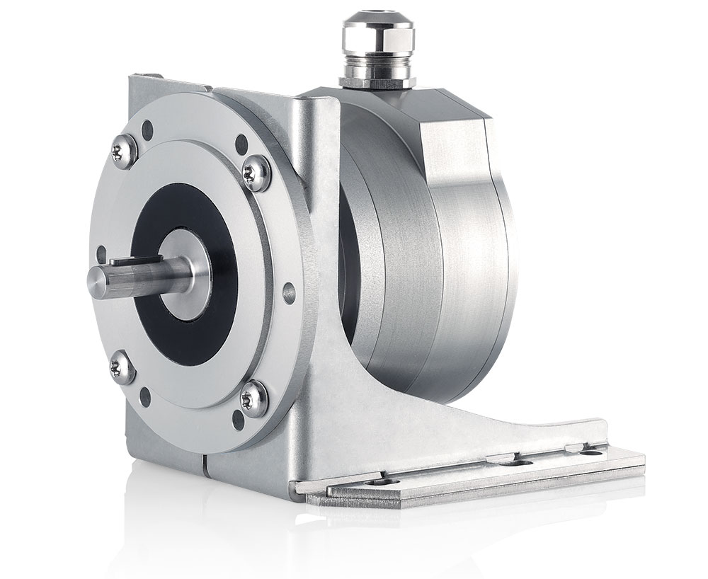 A PSE 900 encoder with a mounting foot kit attached to the flange.